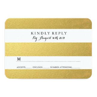 CHIC GOLD RSVP CARDS 9 CM X 13 CM INVITATION CARD