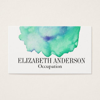 Chic Green and Blue Hand Painted Watercolor Effect Business Card
