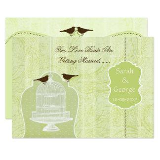 Chic green bird cage, love birds invites