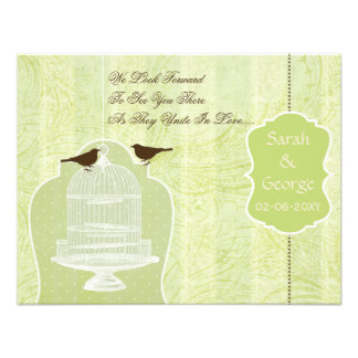 Chic green bird cage, love birds RSVP Invitations