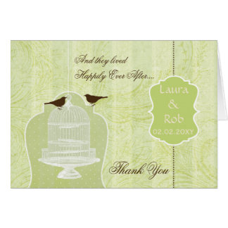 Chic green bird cage love birds Thank You Cards