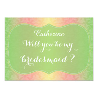Chic Green Damask Will You Be My Bridesmaid Card