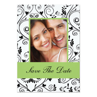 Chic Green Save The Date Engagement Announcement