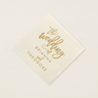 Chic Hand Lettered Gold Wedding Napkins Disposable Serviettes