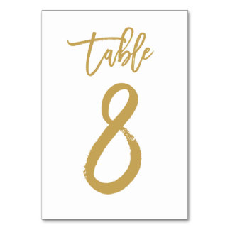 Chic Hand Lettered Table Number Gold | Table 8
