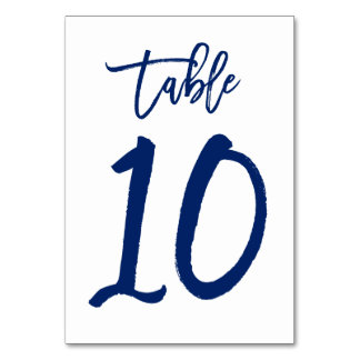 Chic Hand Lettered Table Number Navy | Table 10 Table Cards