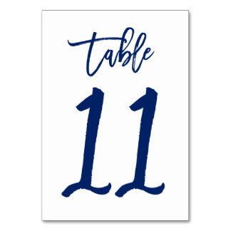 Chic Hand Lettered Table Number Navy | Table 11 Table Card