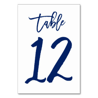 Chic Hand Lettered Table Number Navy | Table 12 Table Cards