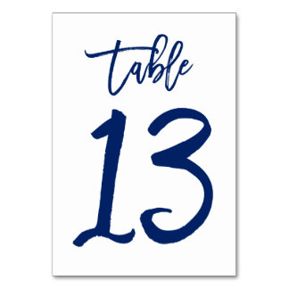 Chic Hand Lettered Table Number Navy | Table 13 Table Cards