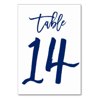 Chic Hand Lettered Table Number Navy | Table 14