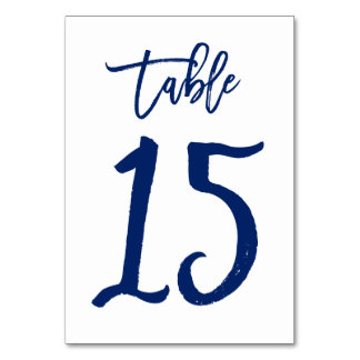 Chic Hand Lettered Table Number Navy | Table 15 Table Card