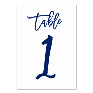 Chic Hand Lettered Table Number Navy  | Table 1 Table Cards