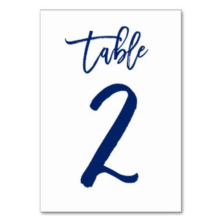 Chic Hand Lettered Table Number Navy | Table 2