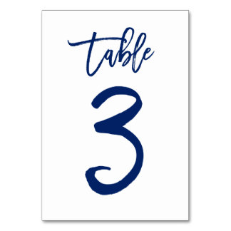 Chic Hand Lettered Table Number Navy | Table 3 Table Card
