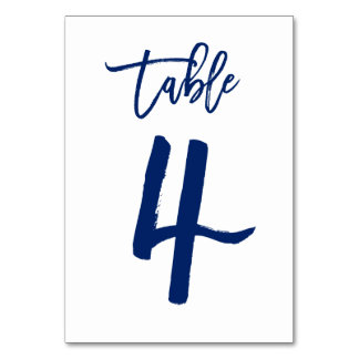Chic Hand Lettered Table Number Navy | Table 4