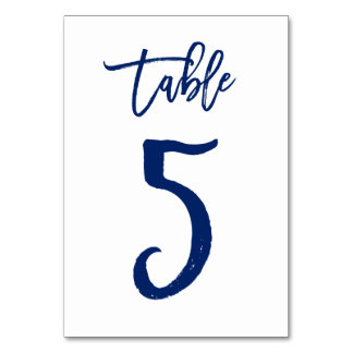 Chic Hand Lettered Table Number Navy | Table 5 Table Cards