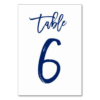 Chic Hand Lettered Table Number Navy | Table 6