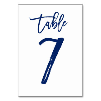 Chic Hand Lettered Table Number Navy | Table 7 Table Card