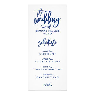 Chic Hand Lettered Wedding Menu Navy Blue Customised Rack Card