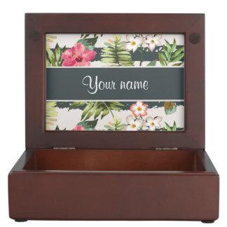 Chic Hibiscus Flowers and Stripes Keepsake Box