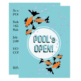 "CHIC INVITATION_MODERN ""POOL's OPEN!"" PARTY Card"