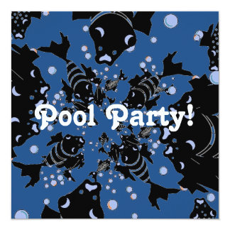 CHIC INVITATION_POOL PARTY! BLACK/WHITE FISH CARD