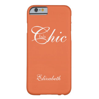 """CHIC IPHONE6 CASE_""""tresChic"""" TANGERINE/WHITE Barely There iPhone 6 Case"""