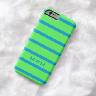 CHIC IPHONE 6 CASE_142 TURQUOISE STRIPES ON GREEN BARELY THERE iPhone 6 CASE