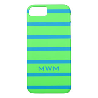 CHIC iPhone 7 CASE_142 TURQUOISE STRIPES ON GREEN iPhone 8/7 Case