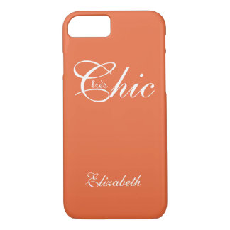 "CHIC iPhone 7 CASE_""tresChic"" TANGERINE/WHITE iPhone 7 Case"