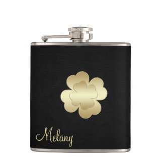 Chic leather golden lucky shamrock personalized flasks