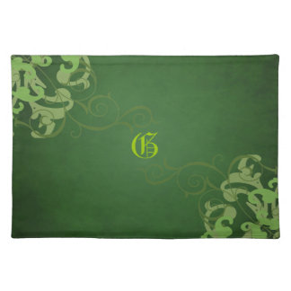 Chic Lime Scroll Green Monogram Placemats