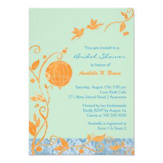 Chic Love Birds Mint + Orange Spring Bridal Shower 5x7 Paper Invitation Card