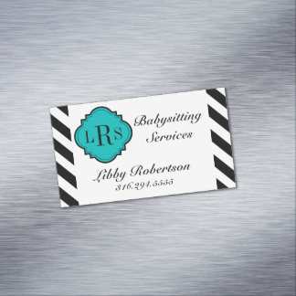 CHIC MAGNETIC BUSINESS CARD_BLACK/WHITE STRIPES MAGNETIC BUSINESS CARDS