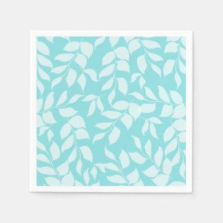 Chic Mint Blue White Leaves Wedding Disposable Serviette