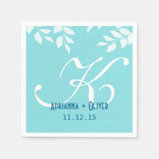 Chic Mint Blue White Leaves Wedding Monogram Paper Napkins