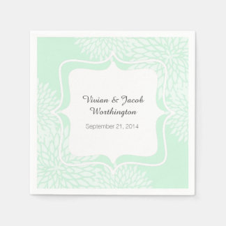 Chic Mint Green and White Floral Wedding Napkin Paper Napkins