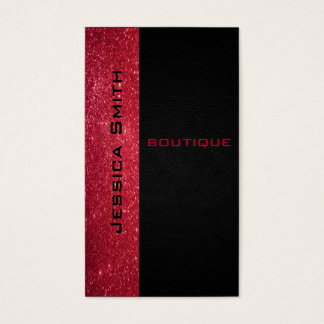 Chic modern luxury red glittery leather look business card