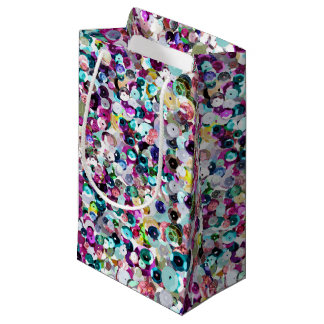 Chic Modern Pink and Turquoise Sequin Sparkles Small Gift Bag