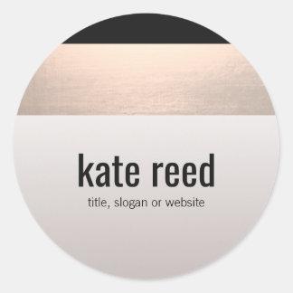 Chic Modern Rose Gold Accent Taupe Grey Round Sticker
