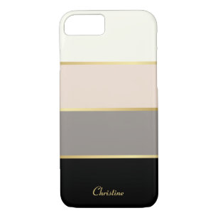 Chic Modern Stripes Pattern with Name Case-Mate iPhone Case