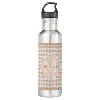 Chic Monogram Light Brown Houndstooth With Name 710 Ml Water Bottle
