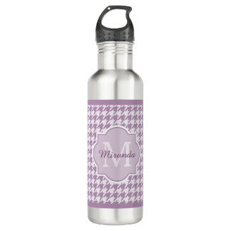 Chic Monogram Light Purple Houndstooth With Name 710 Ml Water Bottle