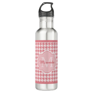 Chic Monogram Pink Houndstooth With Name 710 Ml Water Bottle