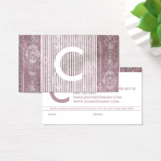 chic monogram referral program business card