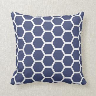 Chic Navy Blue Honeycomb Pattern Cushion