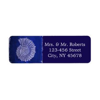 chic navy blue nautical seashells coastal wedding return address label