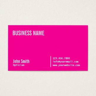 Chic Neon Pink Optician Business Card