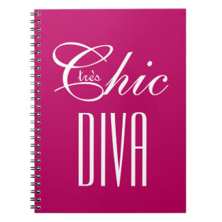 "CHIC NOTEBOOK_""tres Chic DIVA"" BERRY PINK/WHITE Notebook"