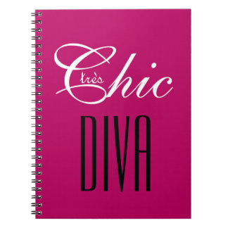 "CHIC NOTEBOOK_""tres Chic DIVA"" BERRY WHITE/BLACK Notebooks"